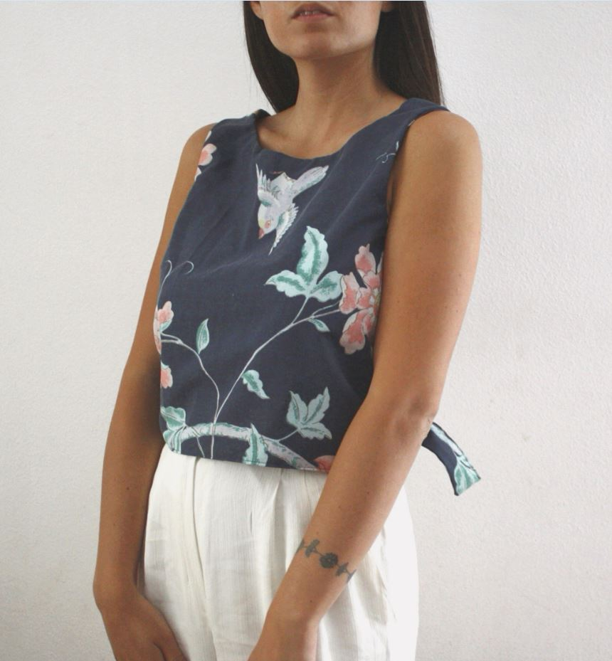 Crop top Daisy blu 1 1 - Mimì Collection