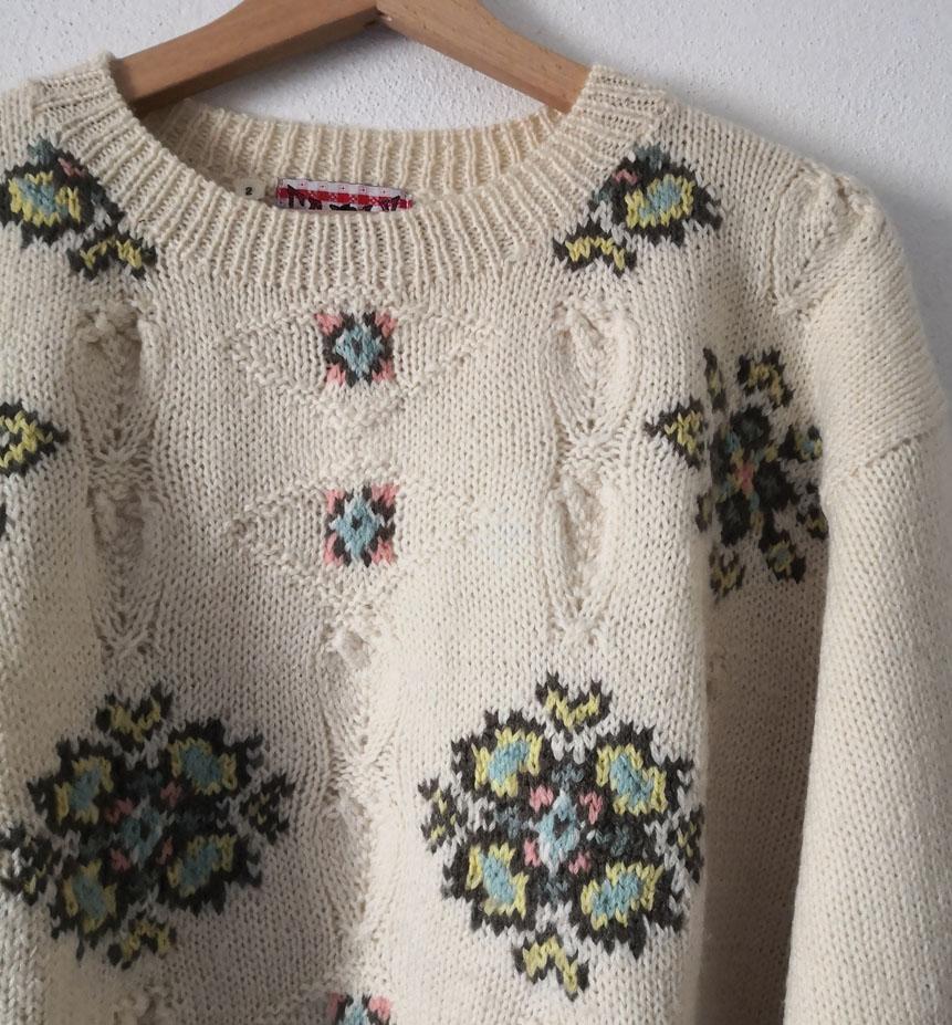 maglione panna ricami 4 - Top VINTAGE