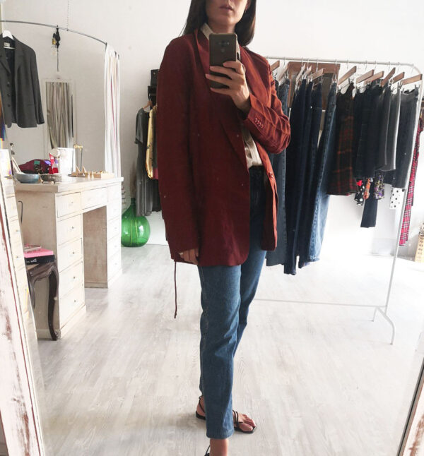 giacchetta marrone1 600x646 - Giacchetta arricciata